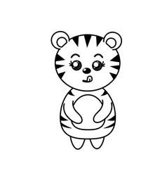 Line cute tiger wild animal with face expression vector
