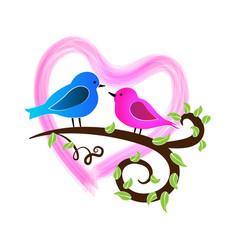 loving birds valentine heart logo symbol vector image