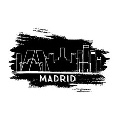 madrid skyline silhouette hand drawn sketch vector image vector image