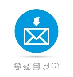 Mail receive icon Envelope symbol Get message vector image