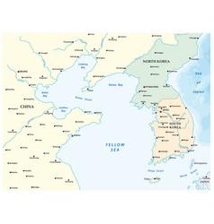 map yellow sea between china and korea vector image