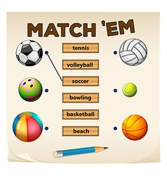 Matching game with sports and balls vector image