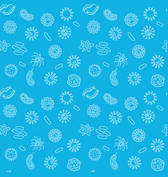 Microbiology blue seamless pattern in thin vector