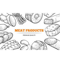 natural sausages and meat product line art banner vector image