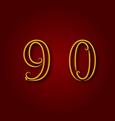 Nine zero golden vintage numbers vector