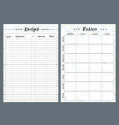 Notebook pages template budget and ration vector