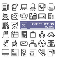 office line icon set work symbols collection vector image