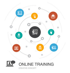 Online training colored circle concept with simple vector