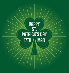 patricks day leaf clover logo vintage background vector image