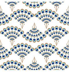 Peacock geometric wave fan seamless pattern vector