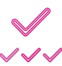 Pink check mark logo design set vector