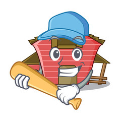 Playing baseball character red barn building with vector