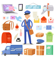 postoffice postman delivers mails in vector image