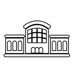 Railway station icon outline style vector