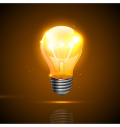 Realistic light bulb on the dark background vector image