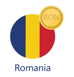 Romania flag and currency vector