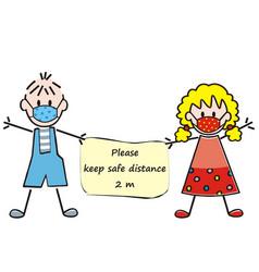 safe distance kids banner vector image