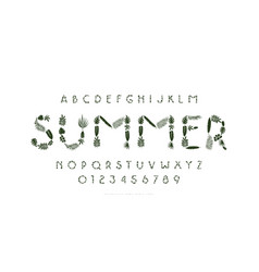 Sans serif font with tropical plant silhouettes vector