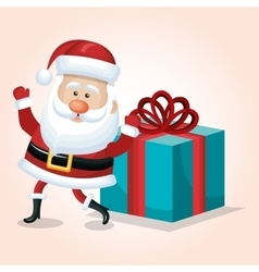 santa claus card happy and big gift design vector image
