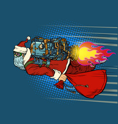 santa claus is flying on a rocket backpack vector image