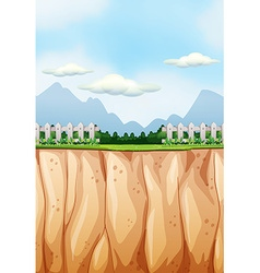 Scene with field and cliff vector image
