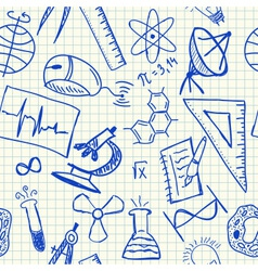 Science doodles seamless pattern vector image