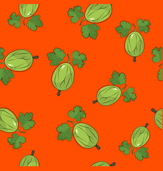 seamless pattern gooseberry on orange background vector image