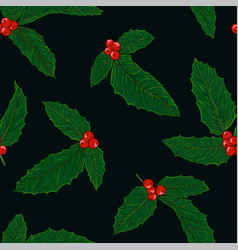 seamless pattern holly branch with berry and vector image