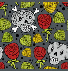 Seamless pattern with cute dead humans and roses vector