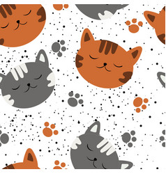 seamless sleeping cat pattern vector image