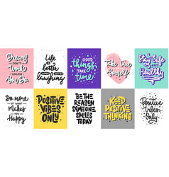 set 10 motivational posters with hand drawn vector image