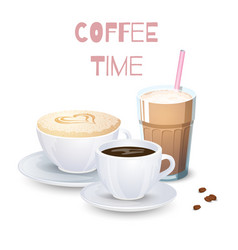 set of coffee drinks vector image