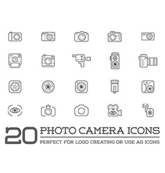 Set of Photo Camera Photography Elements and Video vector image