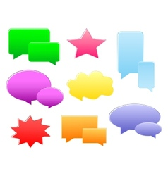 Set of various shapes and colors speech bubbles vector image