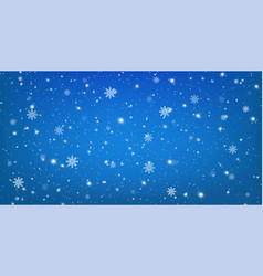 snowy blue background with falling snowflakes vector image