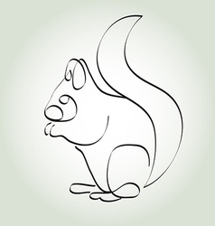 Squirrel in minimal line style vector image