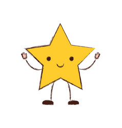 star kawaii caricature in blurred color silhouette vector image
