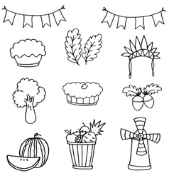 Stock collection thanksgiving set doodles vector image