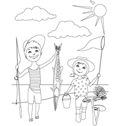Summer activities for kids coloring page vector image