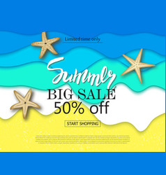 summer big sale banner with cut paper waves and vector image