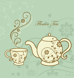 teapot and cup with floral design elements vector image