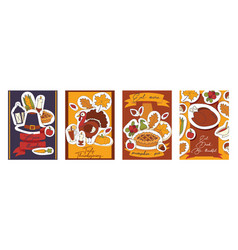 Thanksgiving food traditional turkey vector