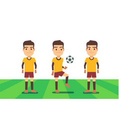 three soccer players on green field vector image