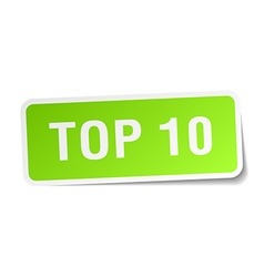 Top 10 green square sticker on white background vector