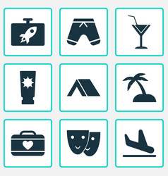 Tourism icons set with mask shorts cocktail and vector
