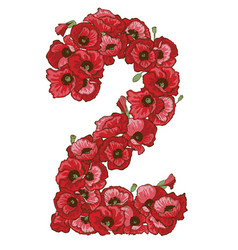 Two digit made of red poppies flowers vector