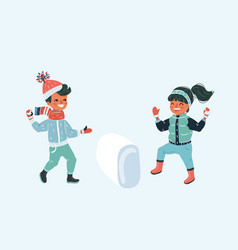 two kids with snowball fight vector image