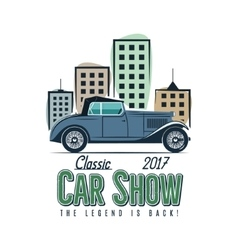 Vintage car show label design Classic auto badge vector
