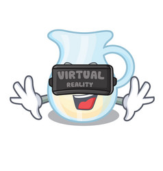 Virtual reality milk jug completely filled with vector