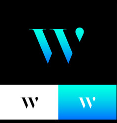 W monogram logo blue letter drop vector